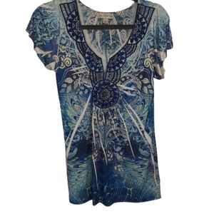 Live and Let Live tunic top, size Small, floral